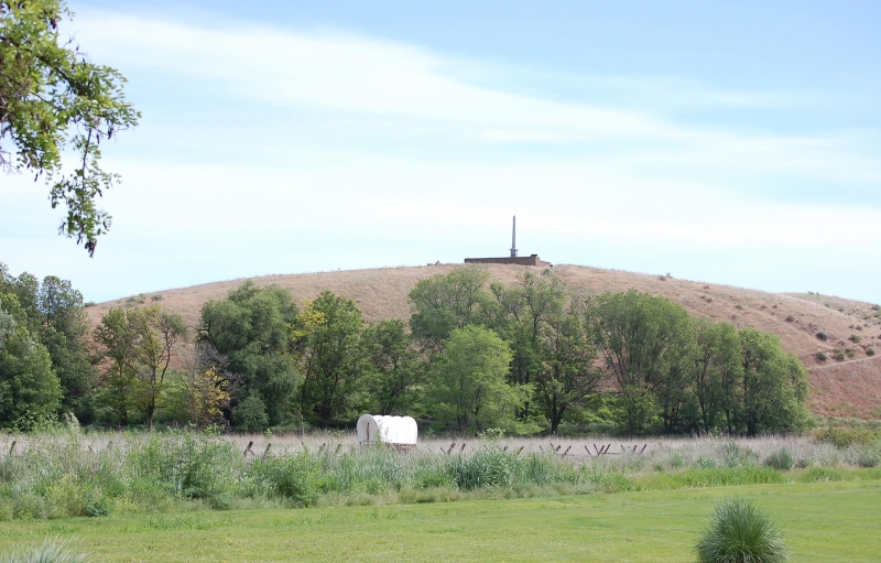Whitman Mission National Historic site with covered wagon