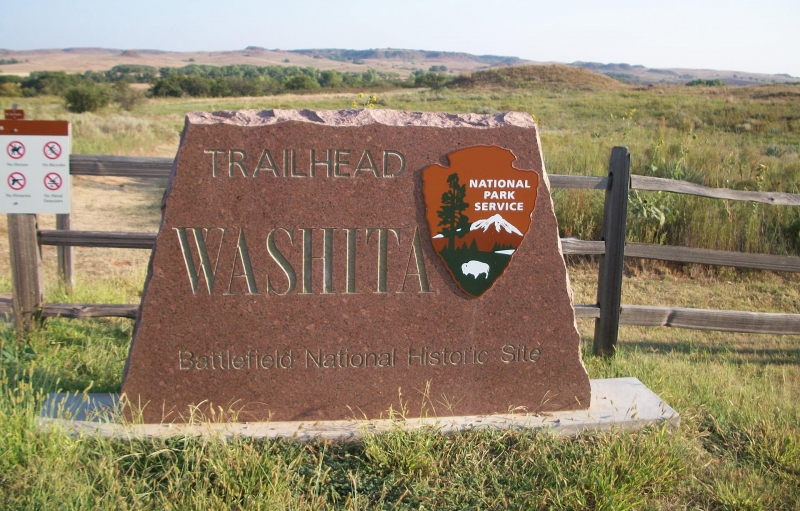 Stone sign for Washita Battlefield