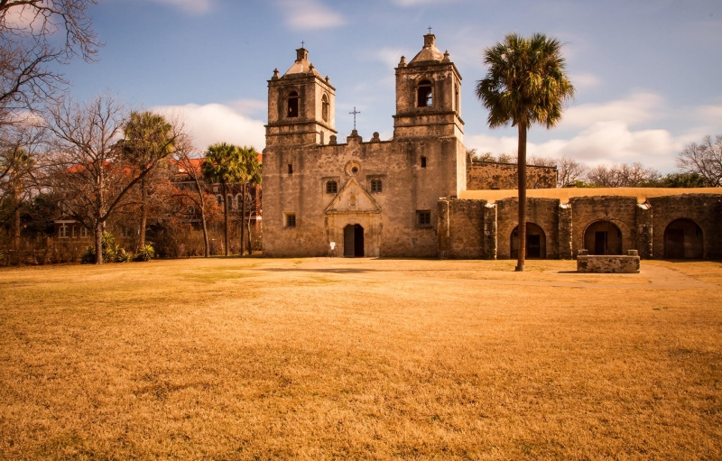front of the San Antonio Mission church