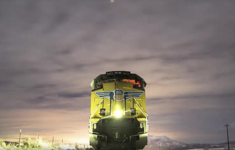 Union Pacific train at night
