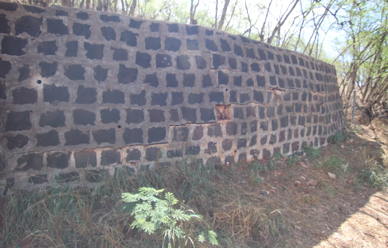 Brick wall at the campsite