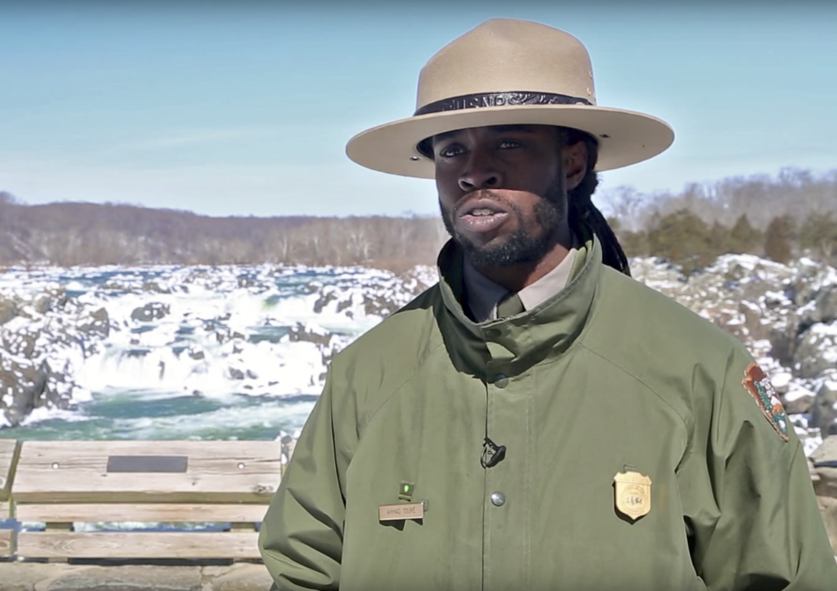 Ranger Ahmad Toure talking in a snowy Great Falls National Park