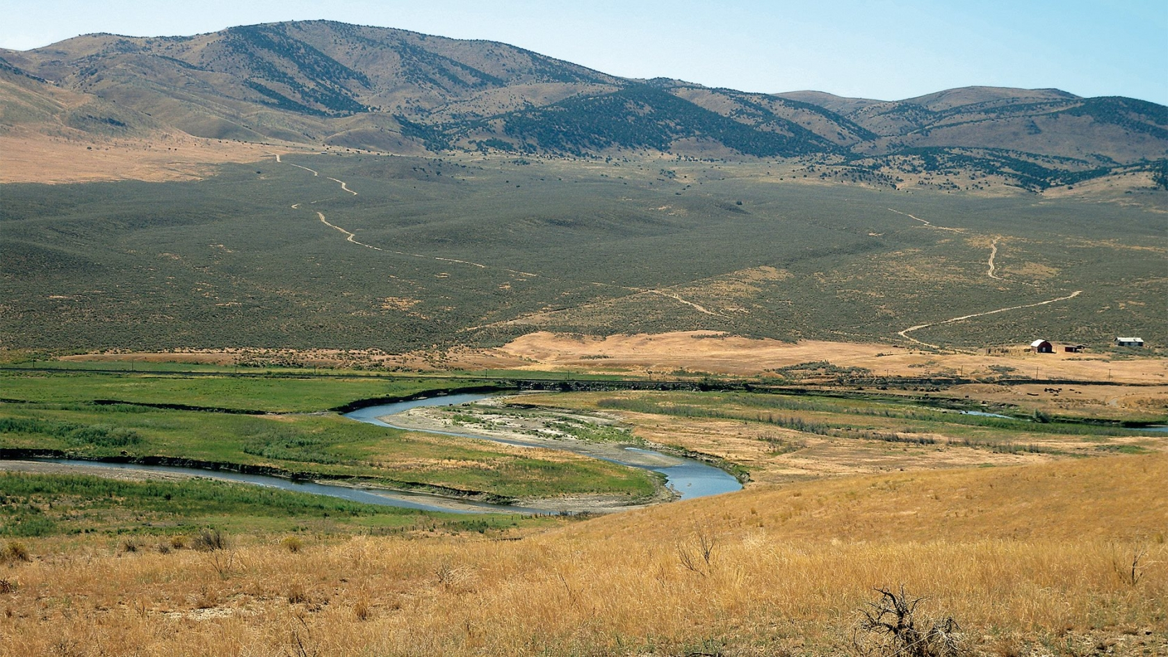 Humboldt River running through a valley in Nevada along the California National Historic Trail