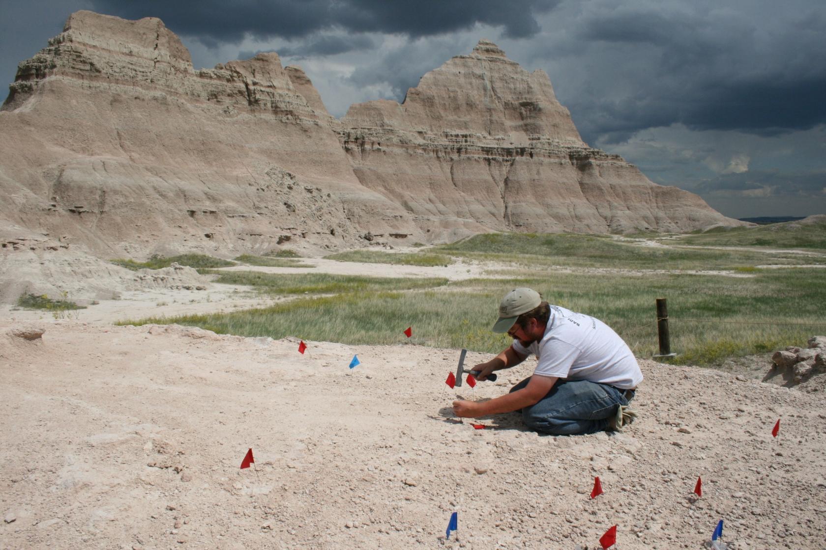 Paleontólogo del sitio de excavación Sabre en el Parque Nacional Badlands