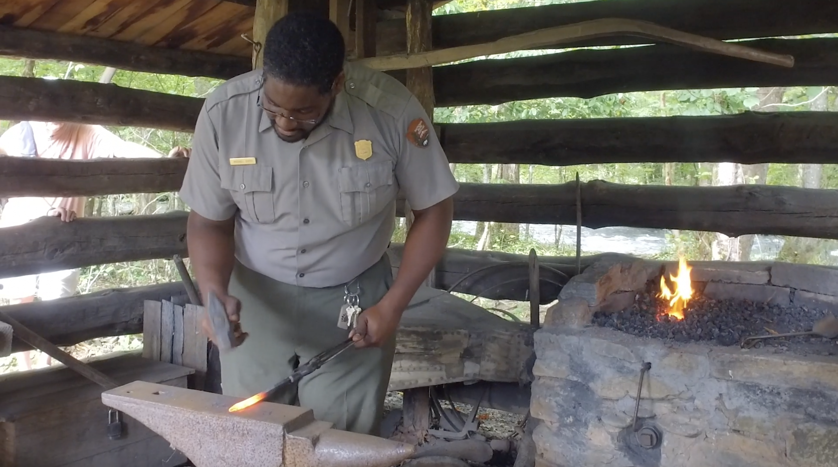 Michael Smith does a blacksmith shop demonstration, showing how metal is forged