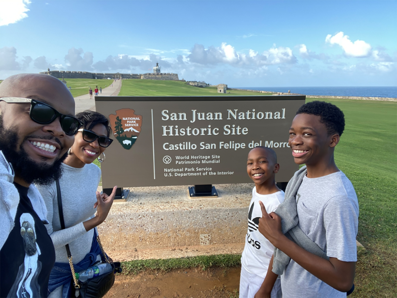Kev on Stage and his family at San Juan National Historic Site