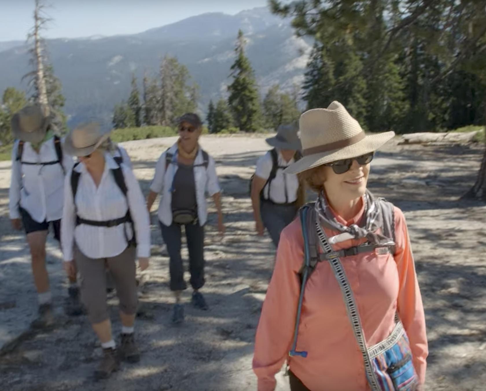 Mrs. Laura Bush walking through Yosemite National Park