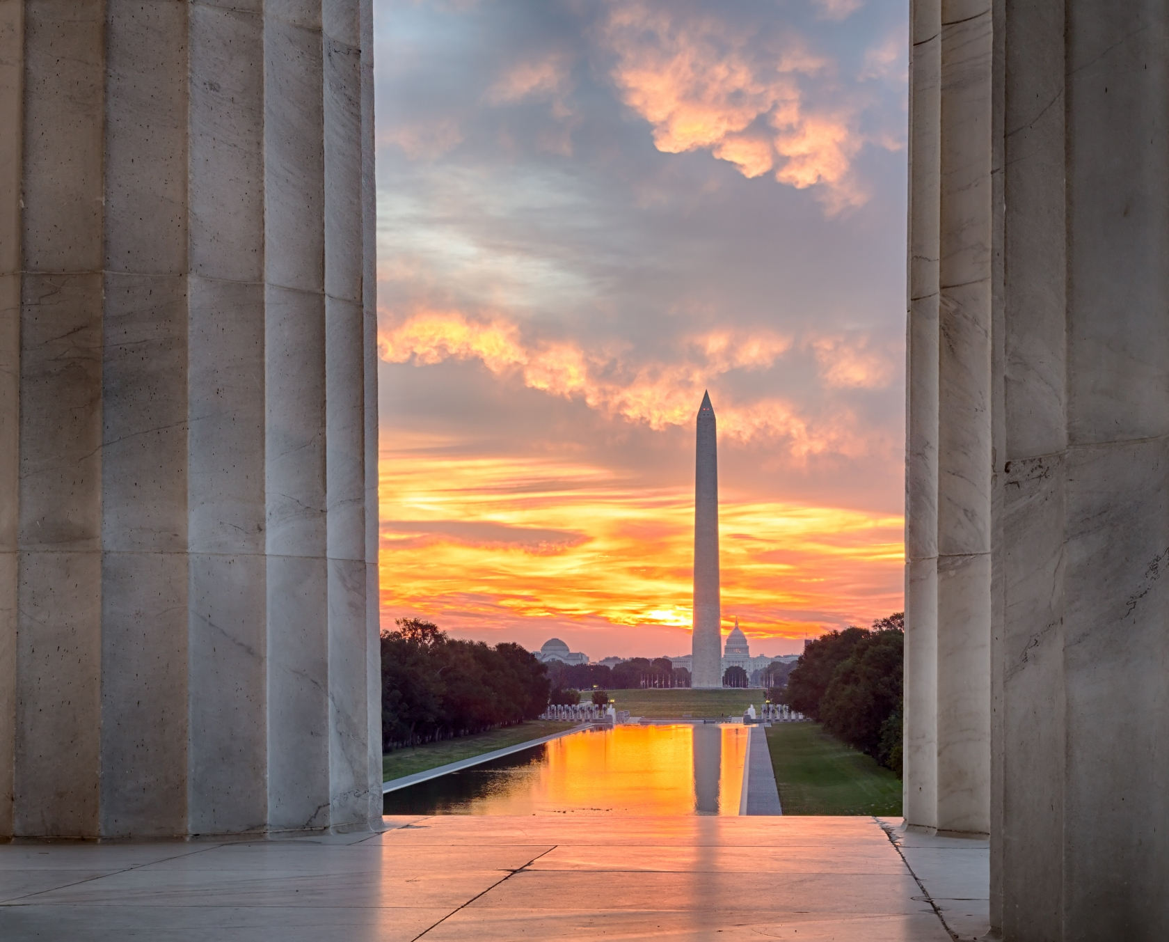 View of National Mall from the Lincoln Memorial at sunset