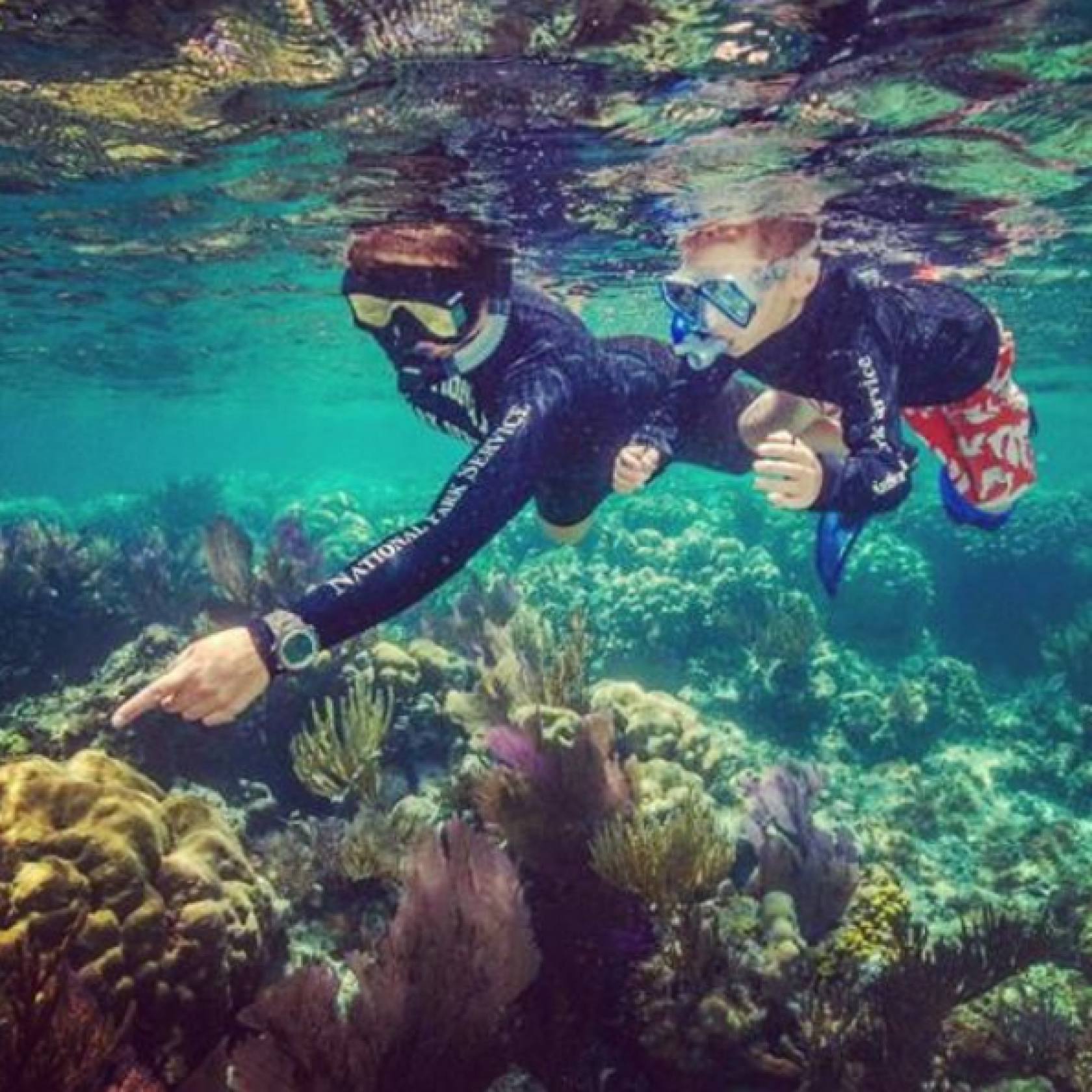 Two national park rangers point at fish and coral while scuba diving