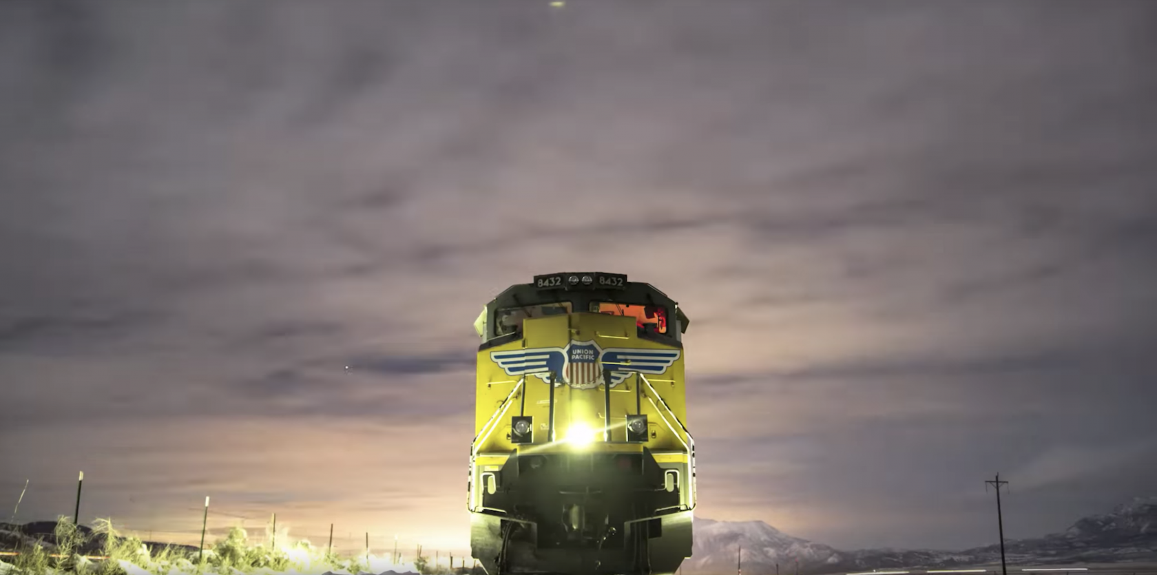 Union Pacific train at night