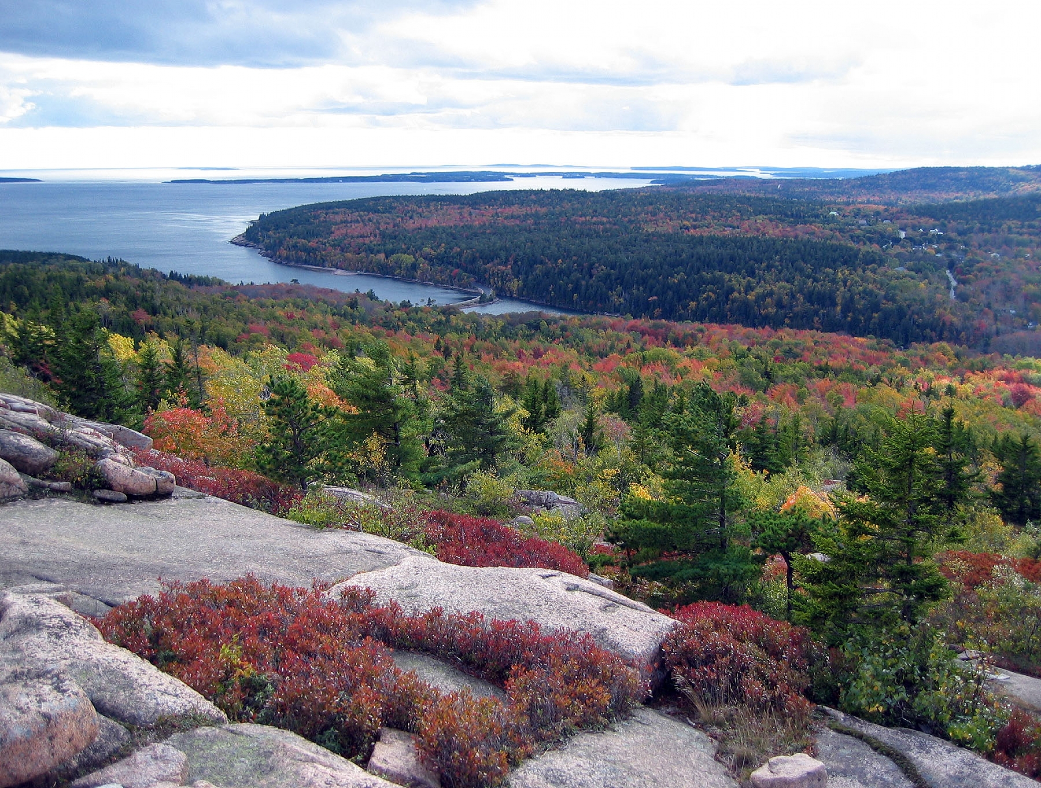 View from on top of Gorham Mountain onto the ocean and forest of green, reds, and yellows, at Acadia National Park