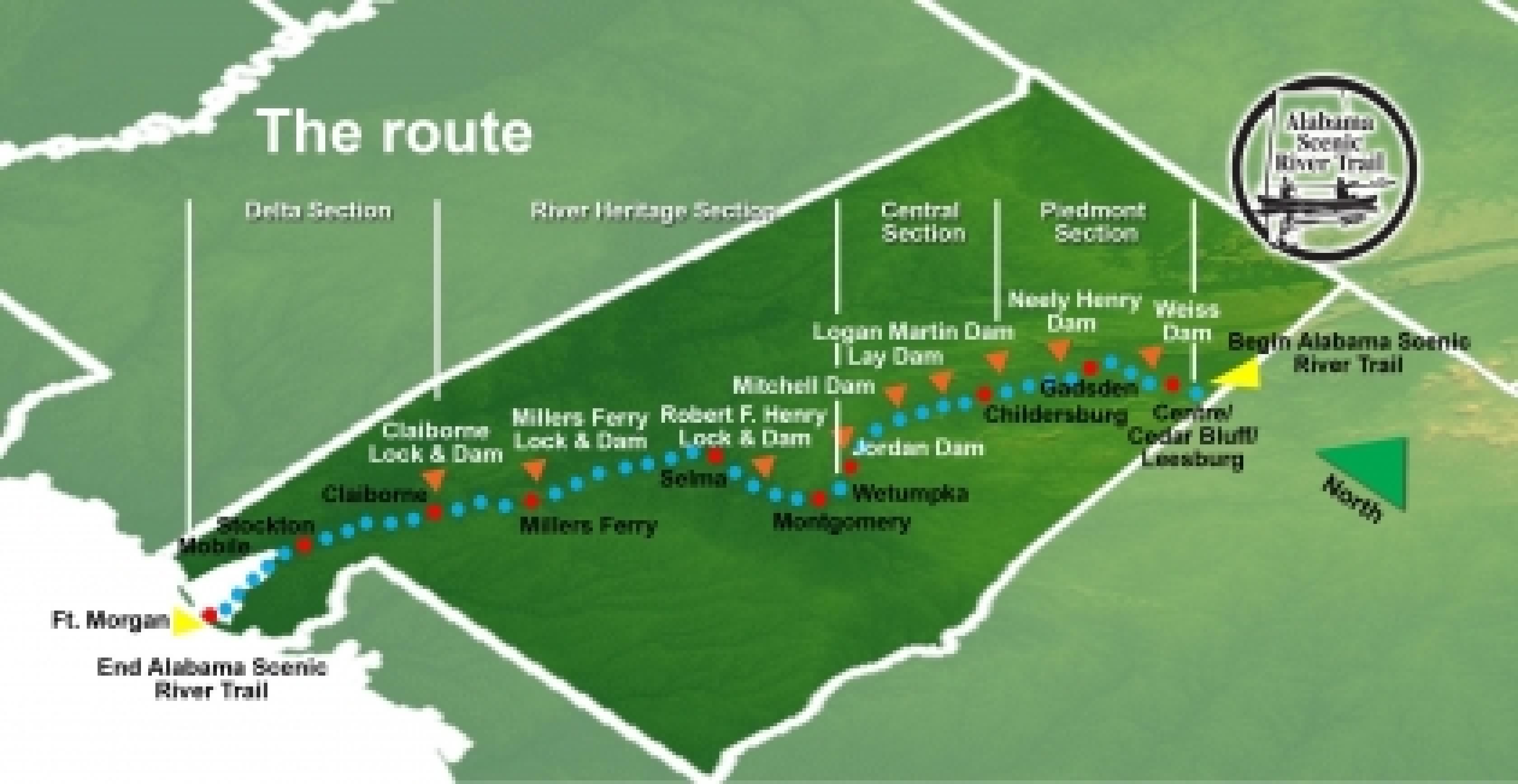 Descripción del mapa del sendero escénico de Alabama