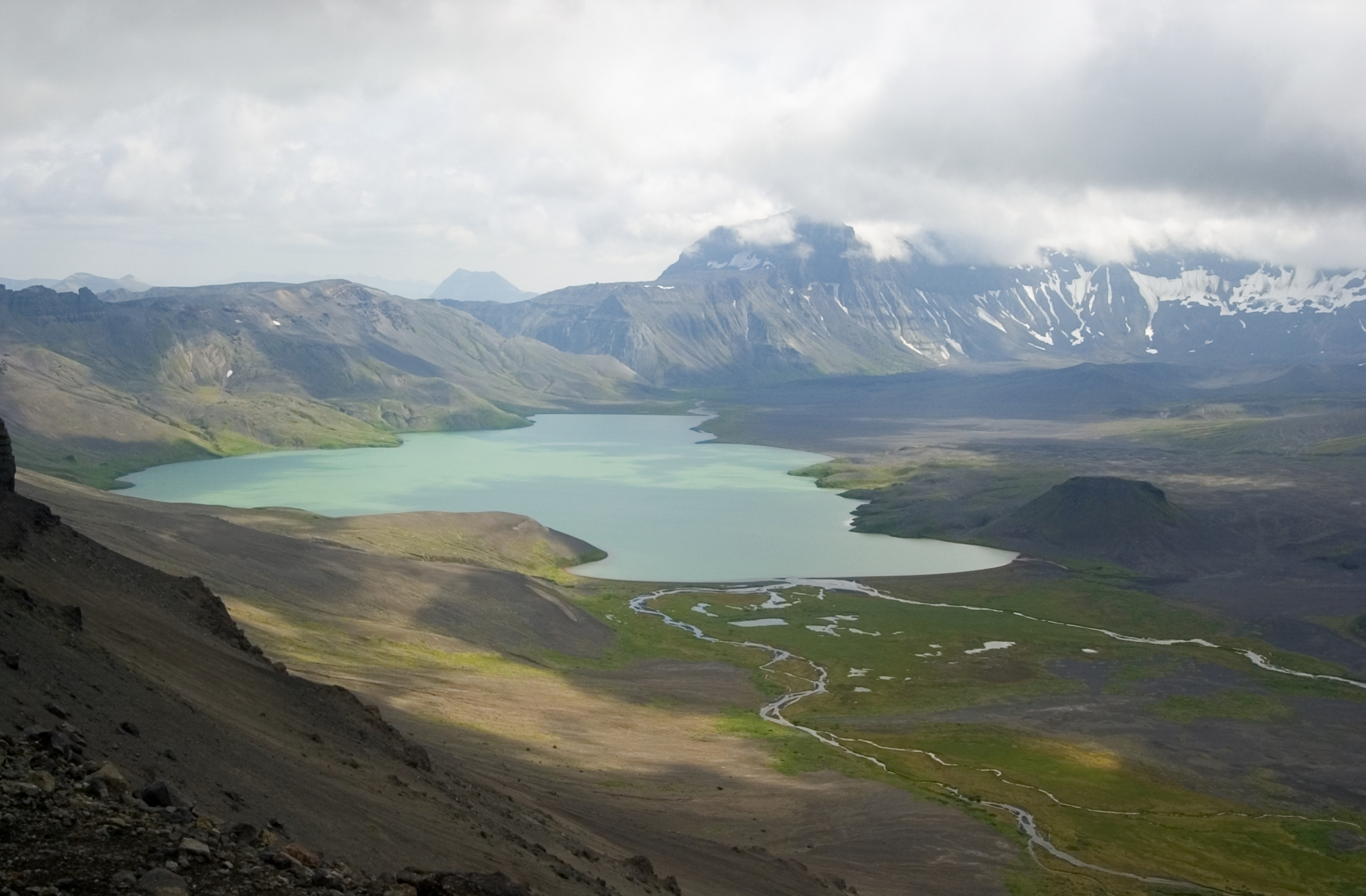 Aerial view of Surprise Lake from Rim at Aniakchak National Monument & Preserve