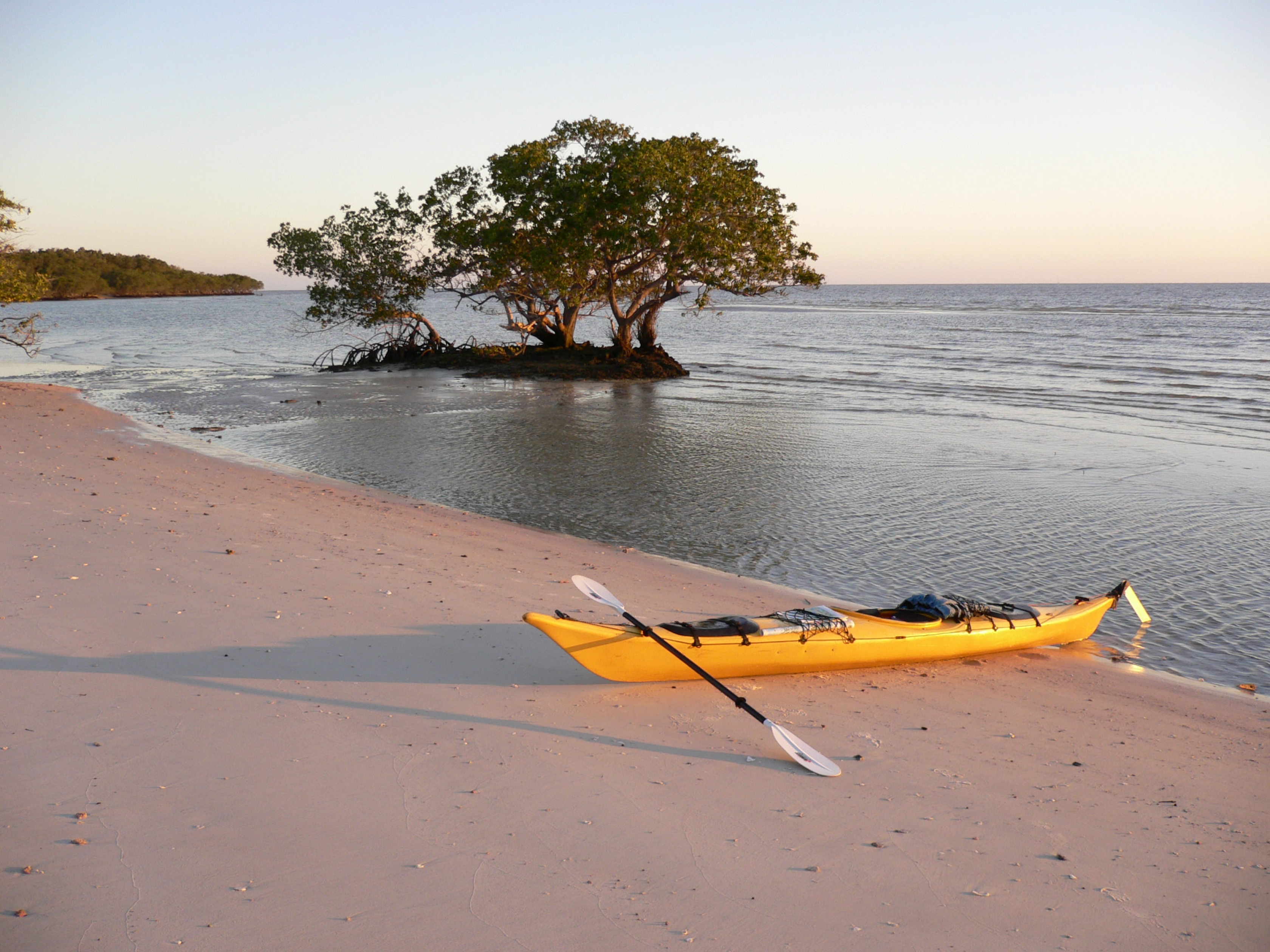 A kayak on the beach in Everglades at Tiger Key.