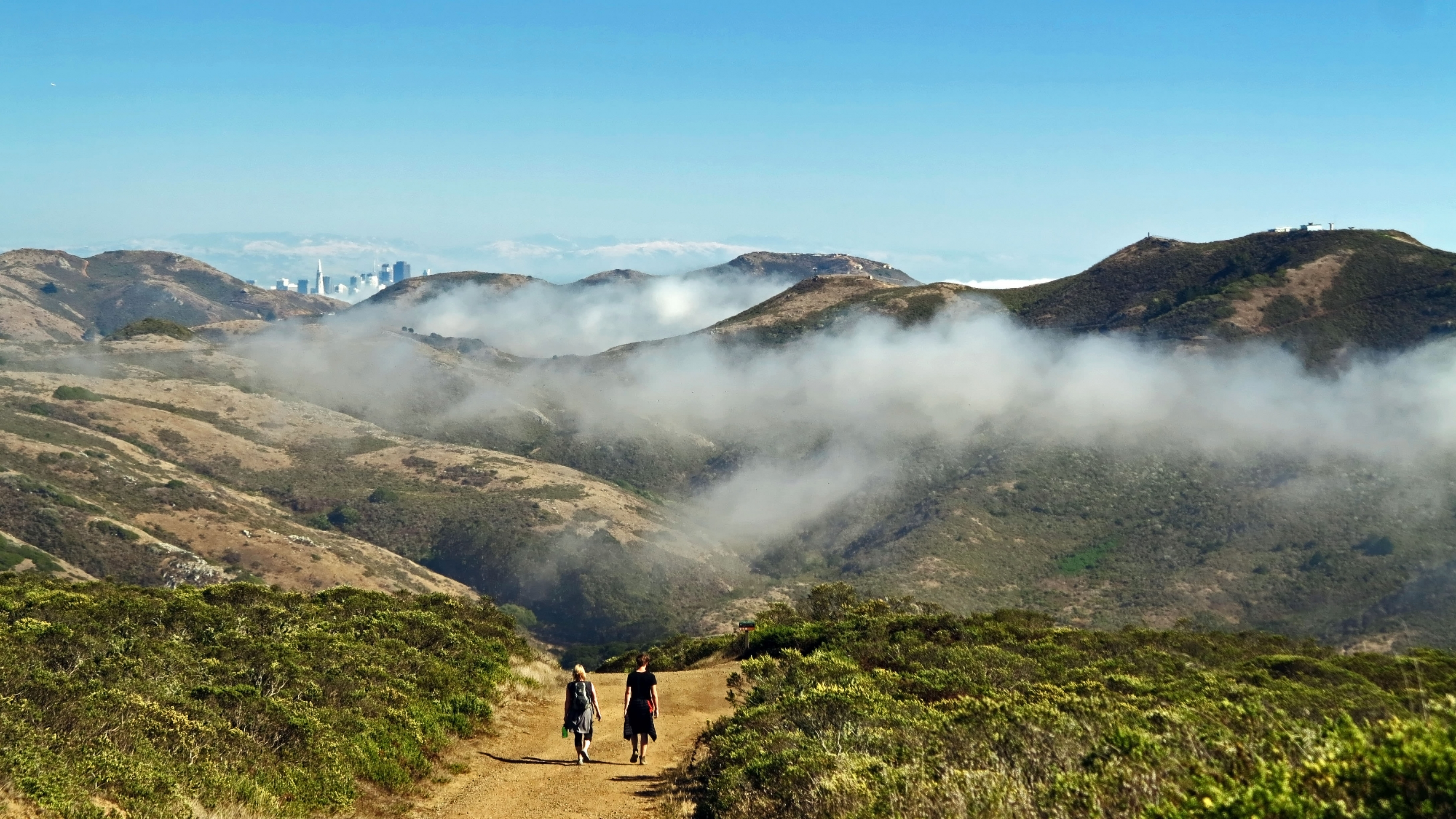 Hikers in the Marin Headlands in Golden Gate National Recreation Area.