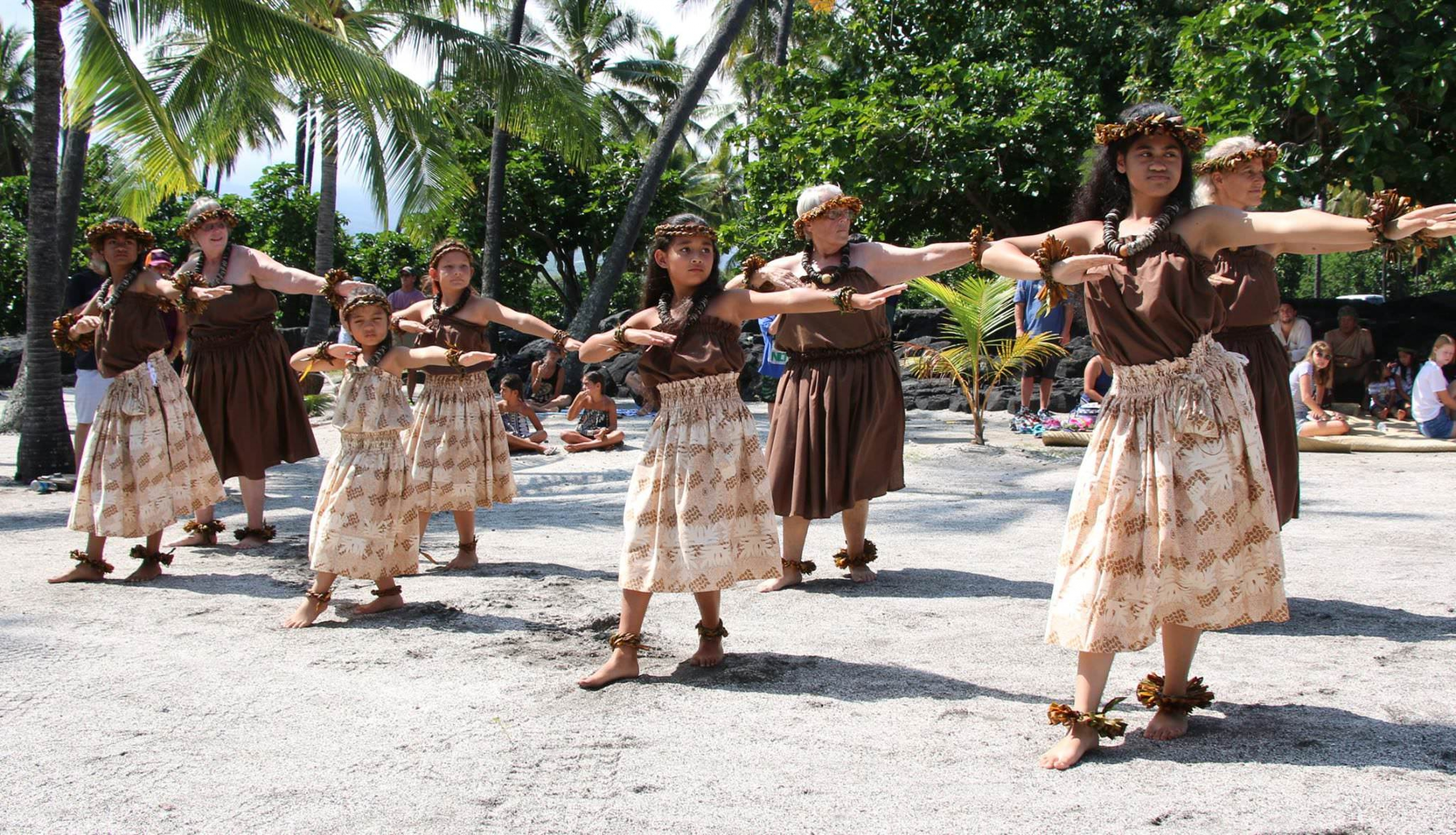 Native dancers at Pu'uhonua National Park.