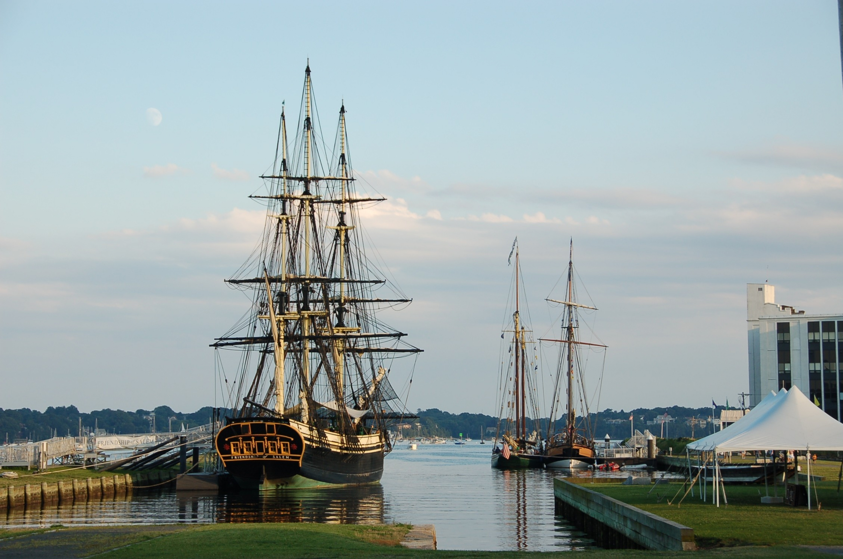 The Friendship of Salem (wooden, 171-foot three-masted boat) anchored in the harbor of Salem Maritime National Historic Park