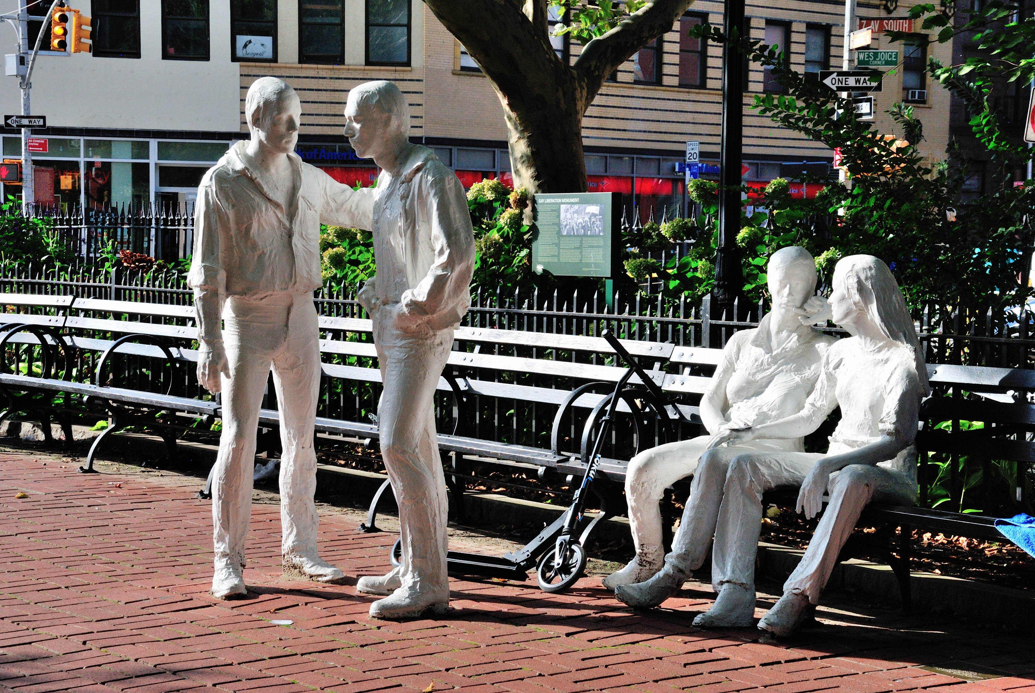 Statues in the park at Stonewall National Monument NYC