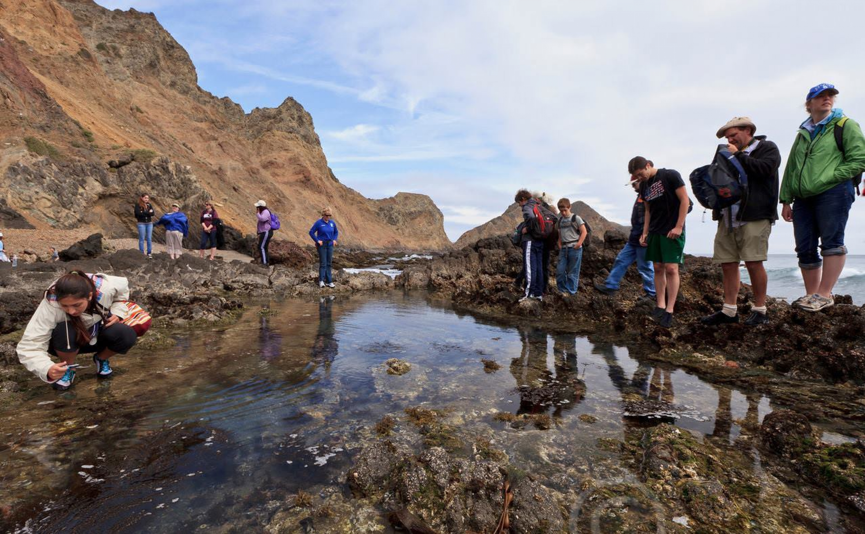 A group enjoys tide pooling in Channel Islands.