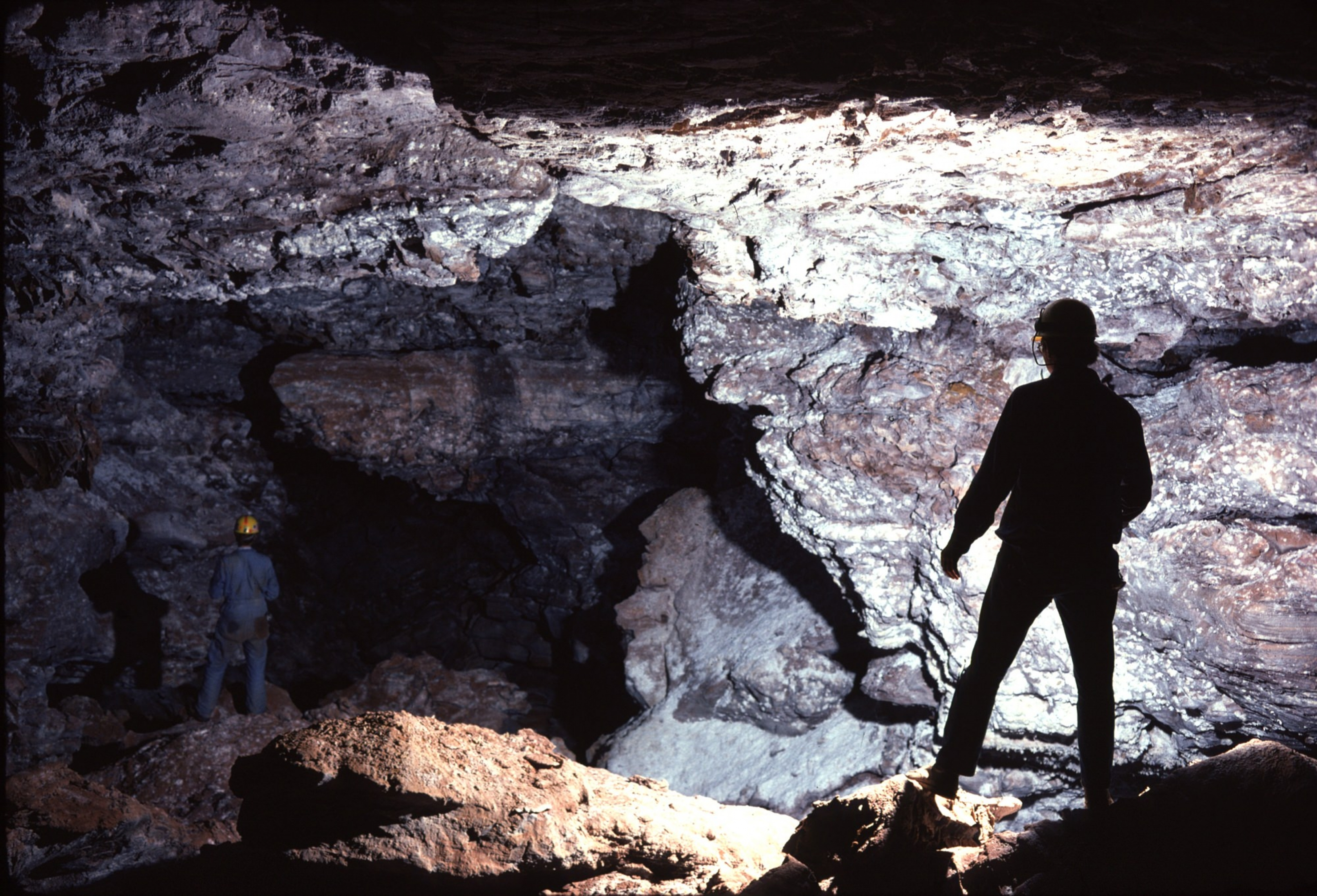 A caver explores Wind Cave National Park.