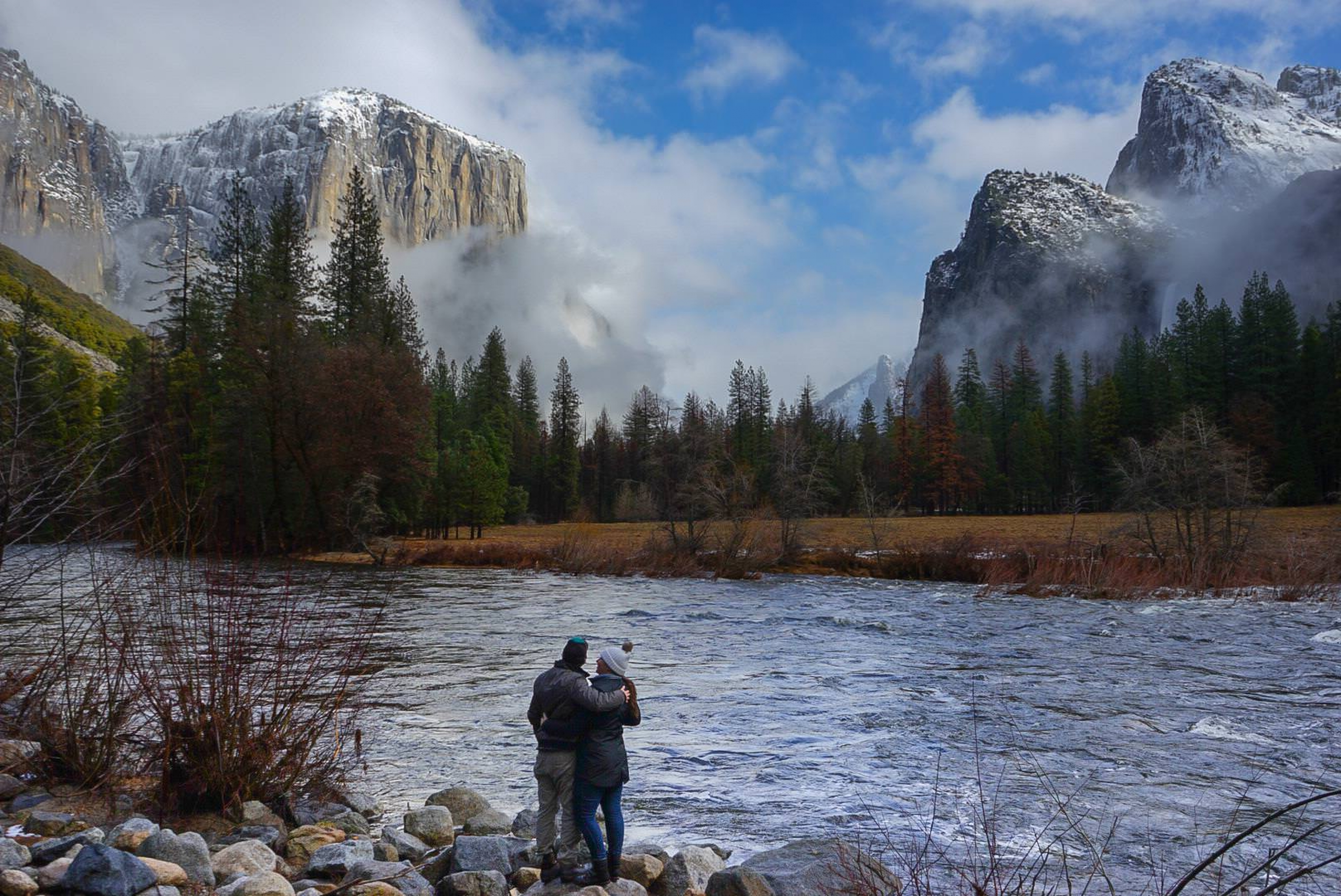 A couple in Yosemite in National Park.