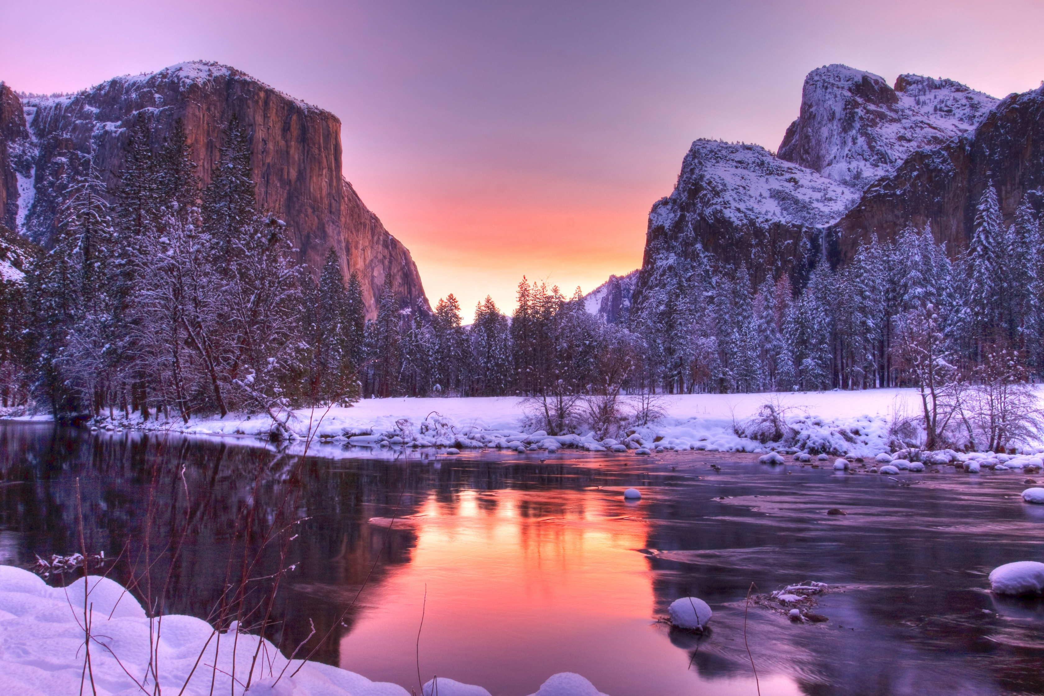 Winter comes at Yosemite National Park.