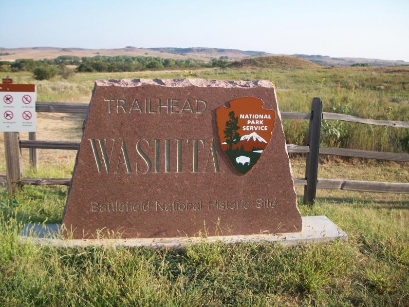 muestra piedra de Washita campo de batalla