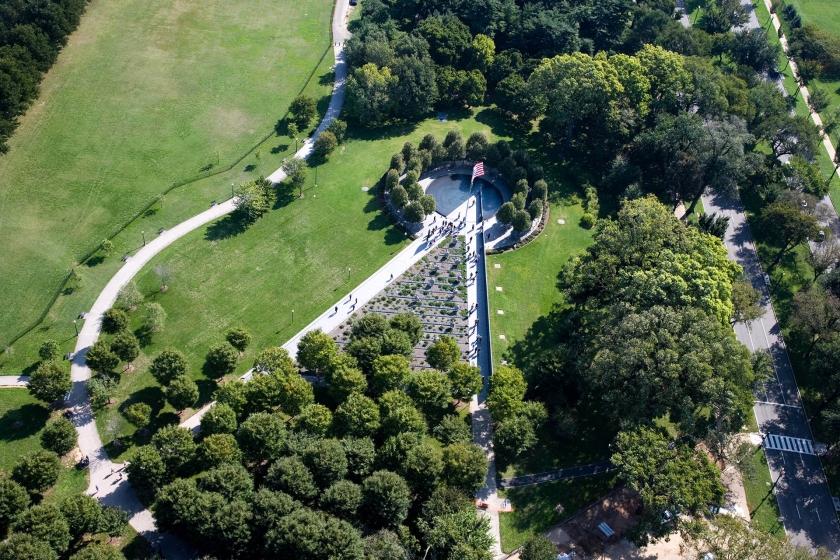 Vista aérea del veterano de Corea Memorial