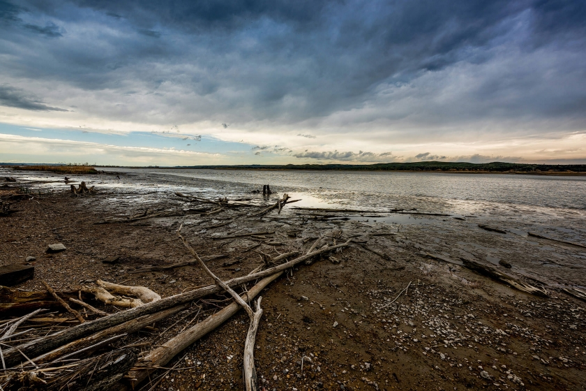 Image of Missouri National Recreational River at dusk with driftwood