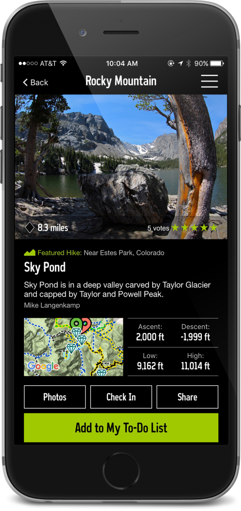 Image of iPhone with the REI Co-op Guide to National Parks App on screen; features data and descriptions of Rocky Mountain park