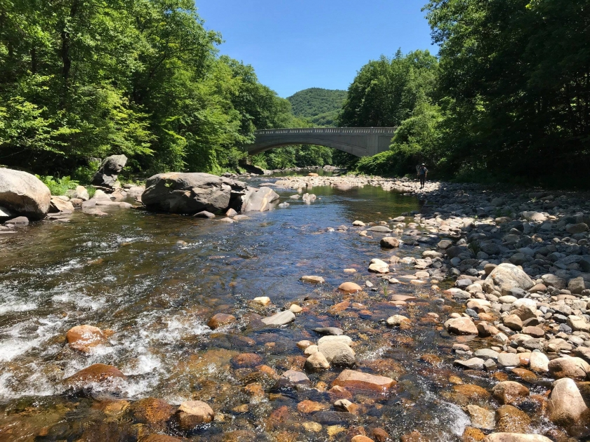 A rocky Wild and Scenic Westfield River running through the forest. Photograph courtesy of Wild & Scenic Westfield River Committee.